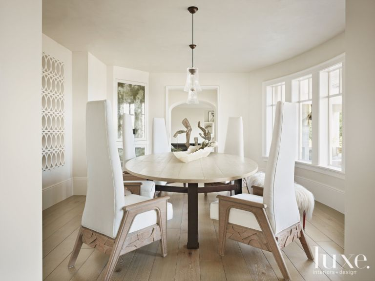 Contemporary White Dining Room With Tall Long White Dining Chairs