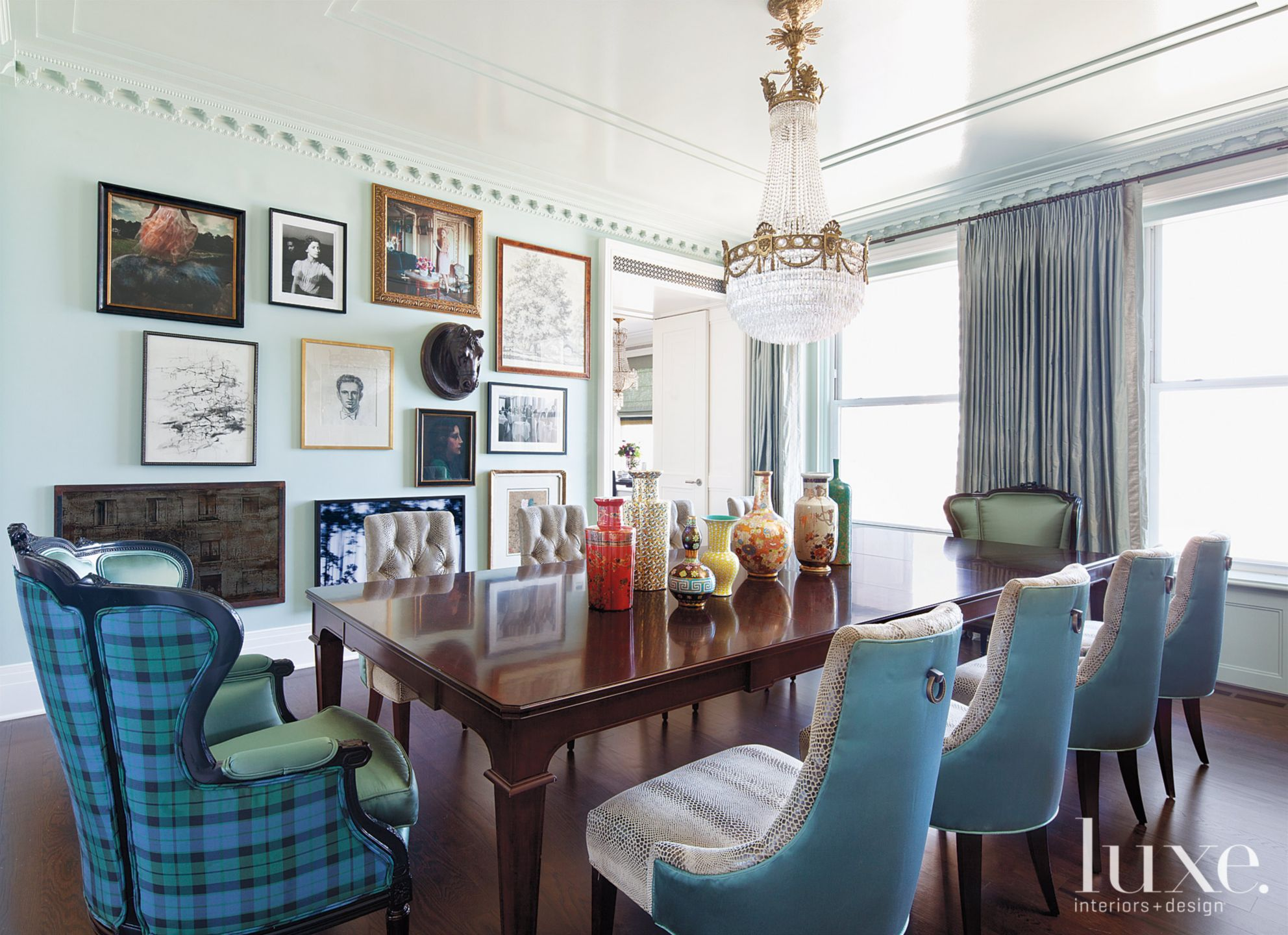 Eclectic Blue Dining Room with Gallery Wall