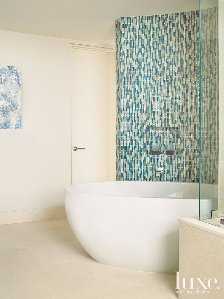 Modern Master Bath with Aqua Tile Wall - Luxe Interiors + Design