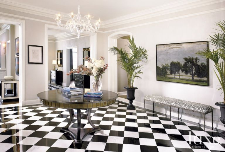 Contemporary White Foyer With Checkered Tile Floors Luxe Interiors