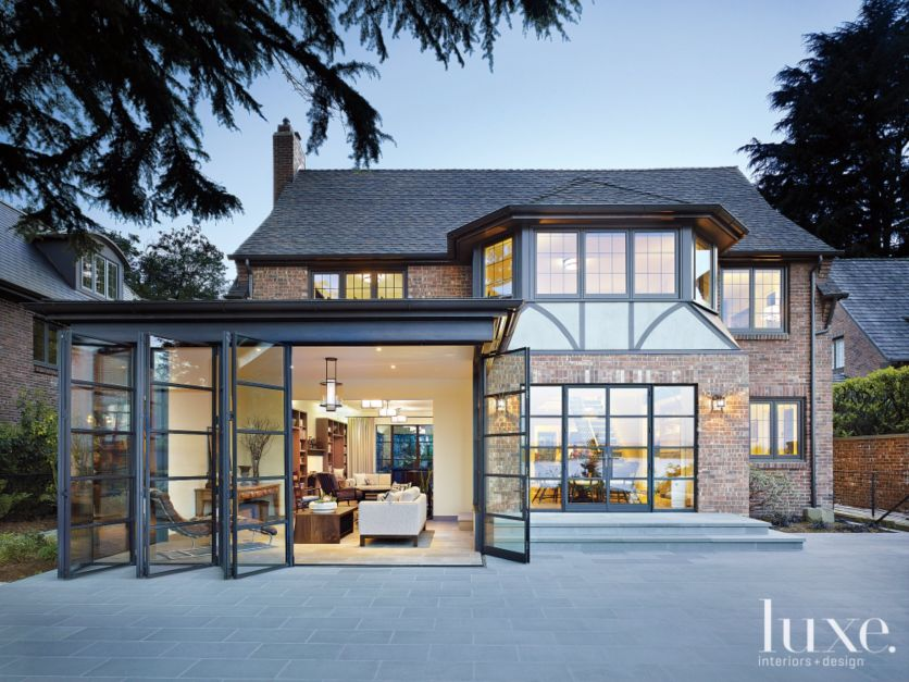 Transitional Neutral Tudor Exterior With Steel Windows Luxe Interiors Design
