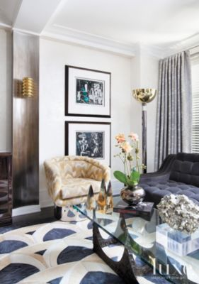 Modern Living Room with Yellow and Gold
