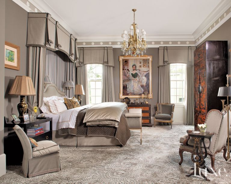 Gray Classical European Master Bedroom Luxe Interiors Design