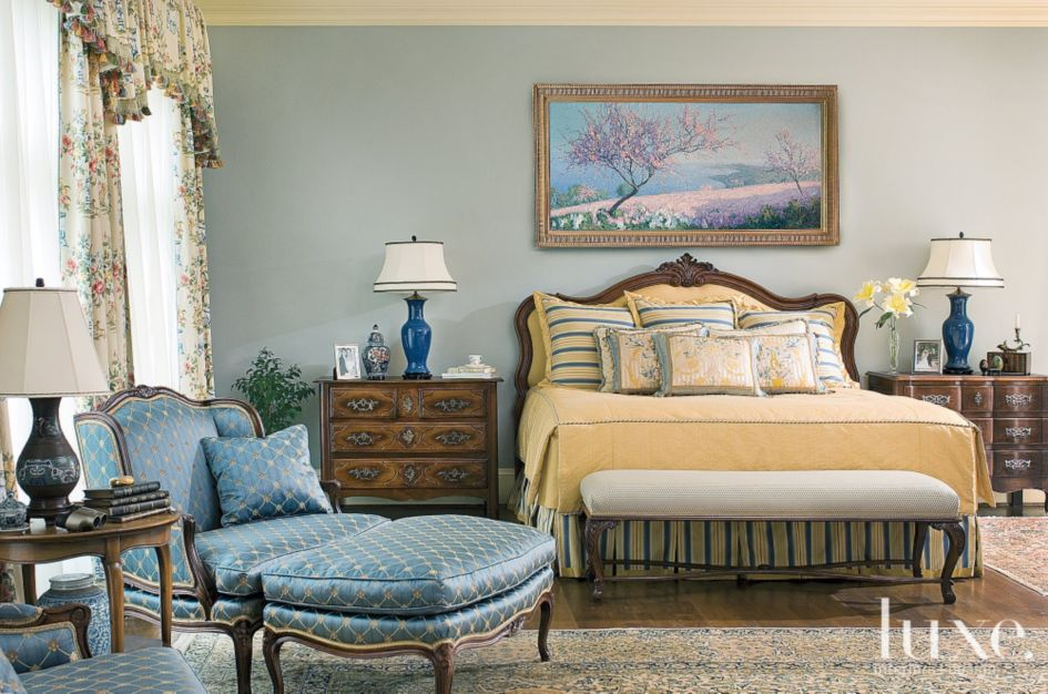 Blue Country French Master Bedroom - Luxe Interiors + Design