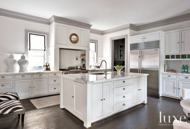 White Traditional French-Revival Kitchen - Luxe Interiors + Design on second empire house design, art deco house design, american foursquare house design, italian villa house design, prairie house design,