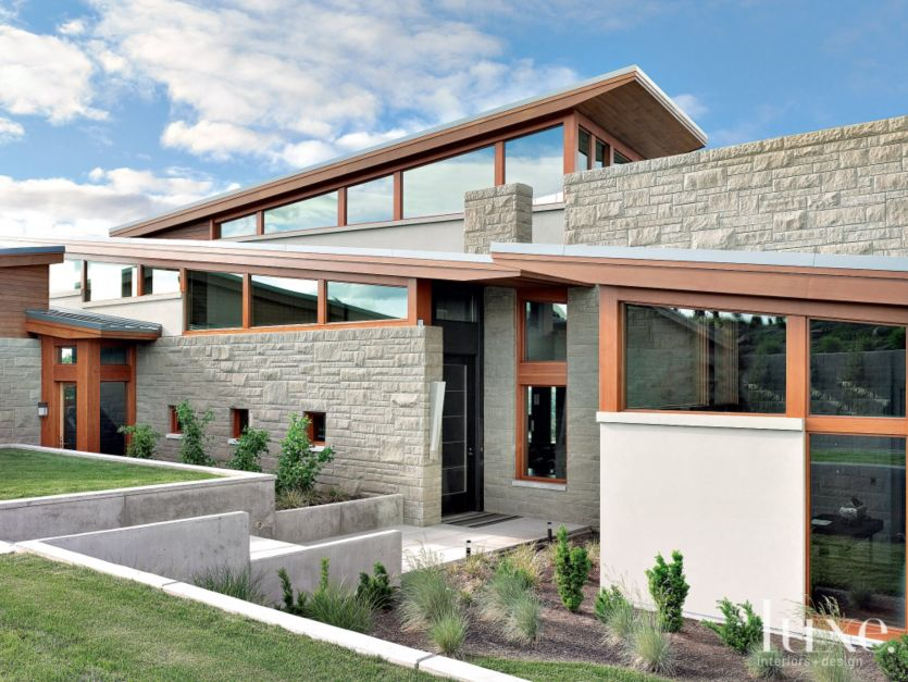 Modern Stone Front Elevation Luxe Interiors Design