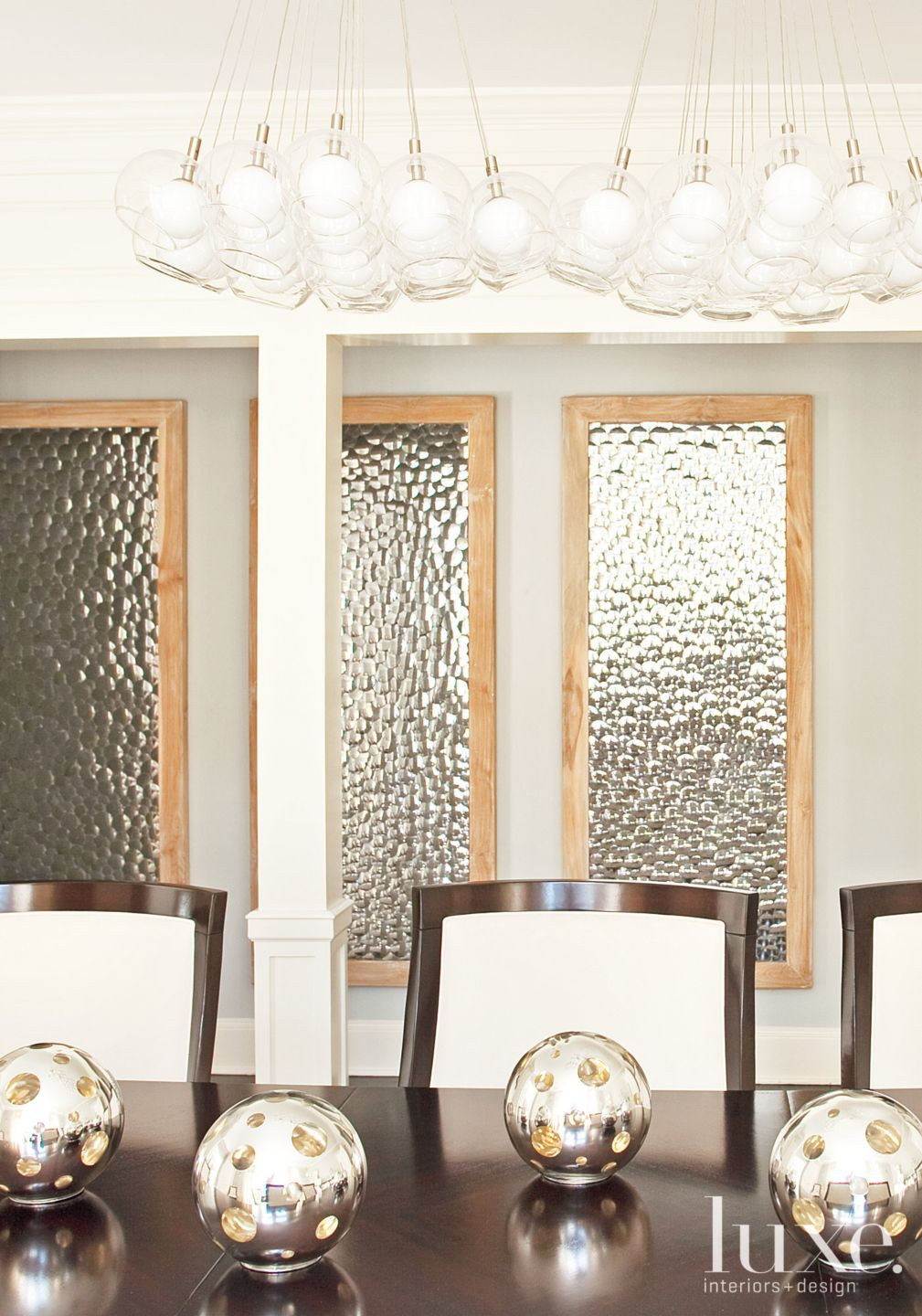 Transitional Dining Room Vignette with Silver Spheres