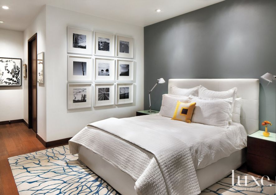 White master bedroom with gray accent wall luxe White grey interior design