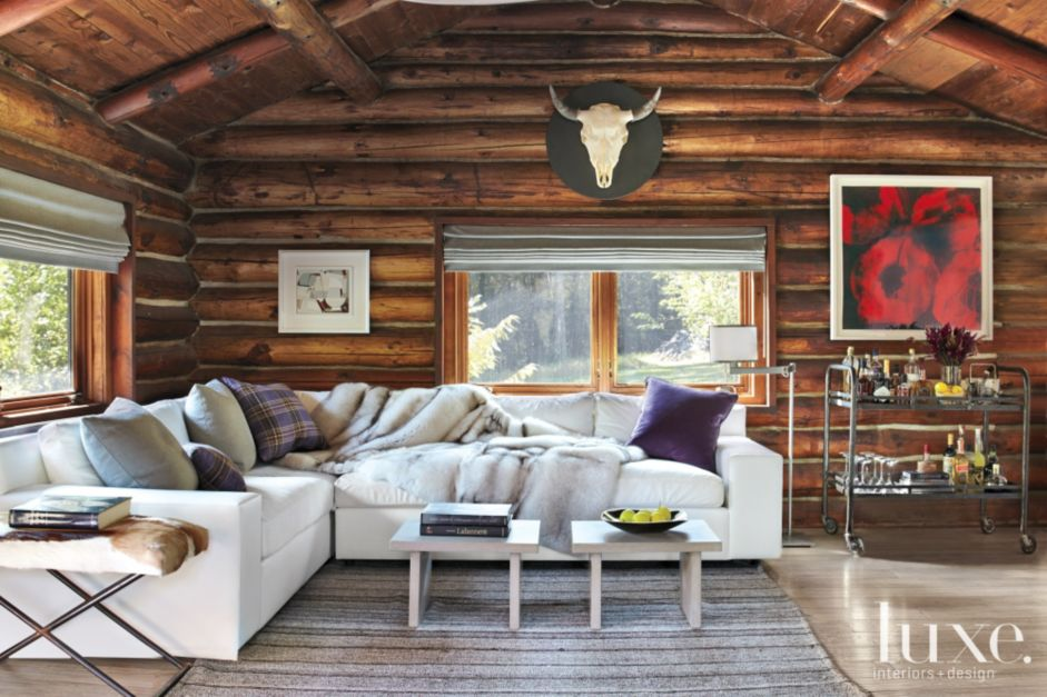 Transitional woodstock log cabin with vibrant twist for Case in stile ranch in stile log cabin