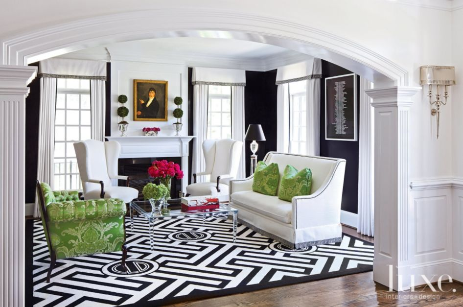 Transitional Black and White Living Room with Green Accents - Luxe ...