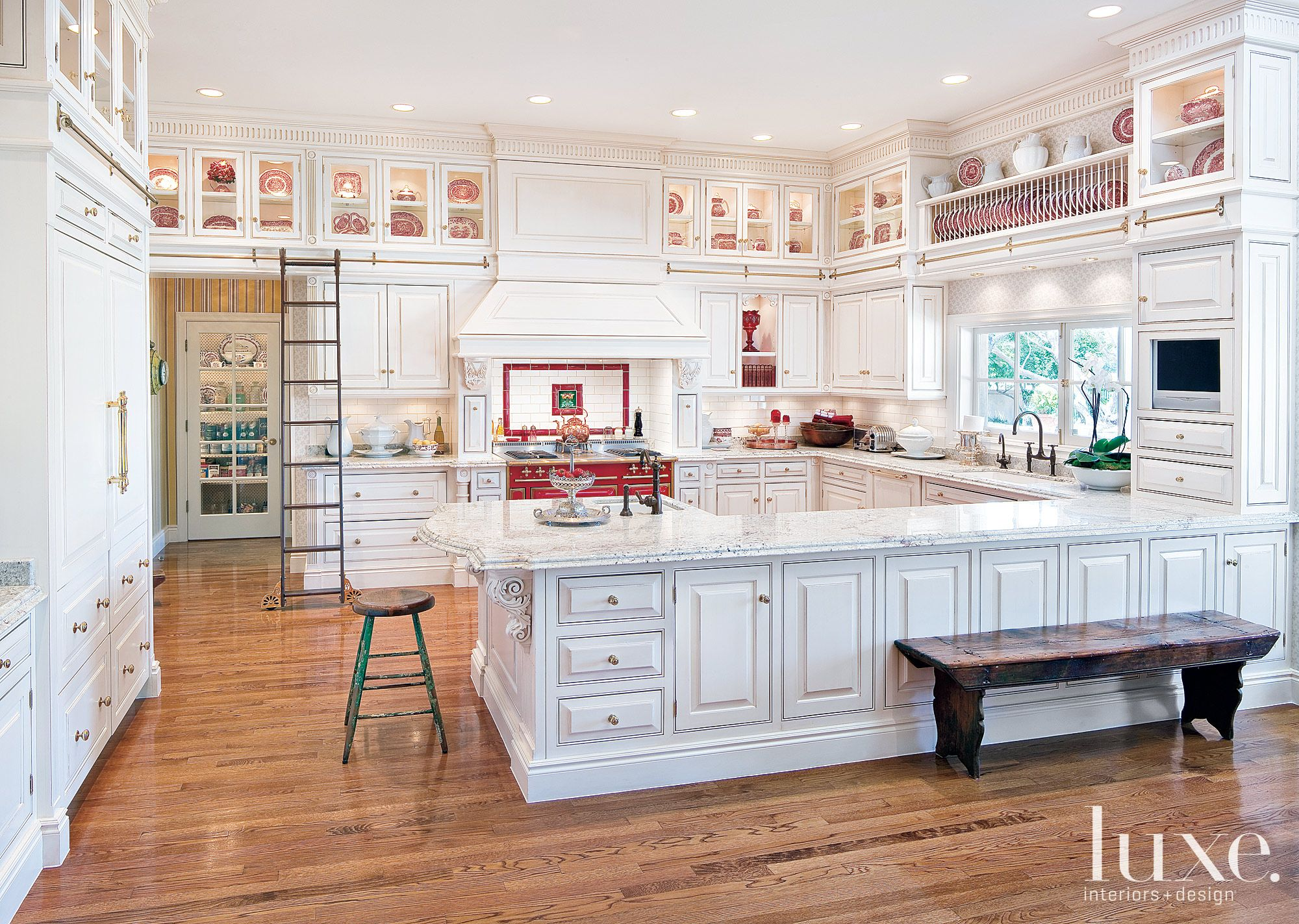 Traditional White Kitchen with English Manor-Style Cabinetry