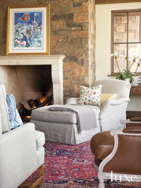 Living Room Feature Wall Decor: Country Neutral Living Room Vignette With Vintage Red Rug