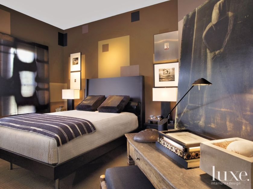 Eclectic Brown Bedroom With Multi Colored Walls Luxe