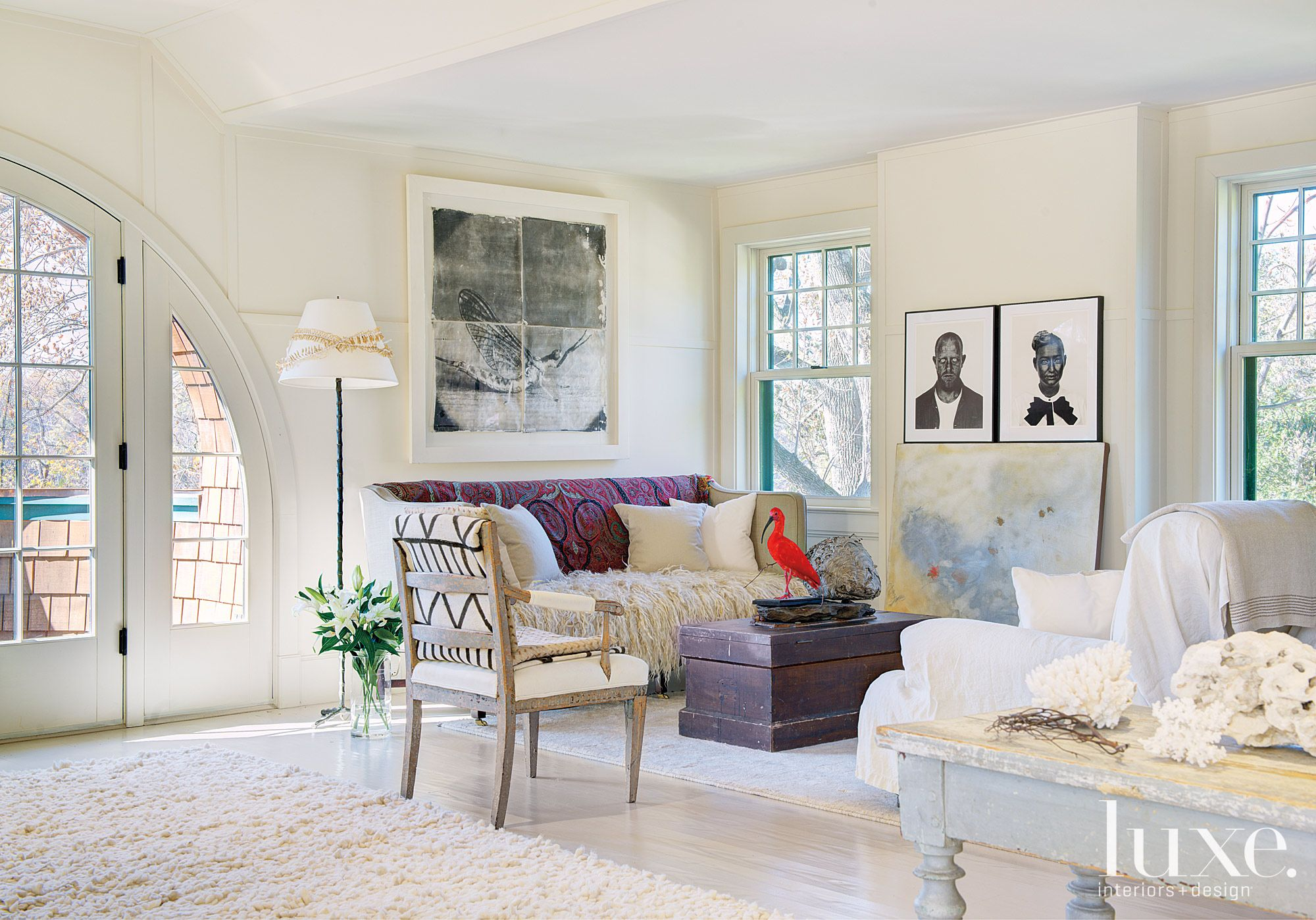 Country Cream Attic with Swedish Antique Furnishings