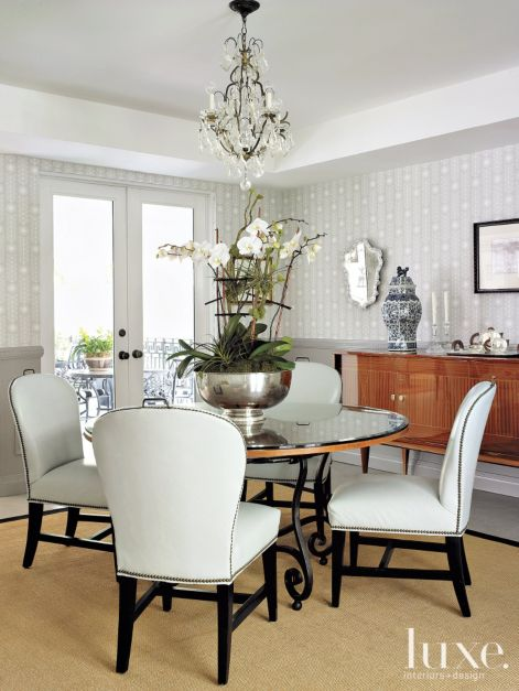 Contemporary White Dining Room With Striped Wallpaper