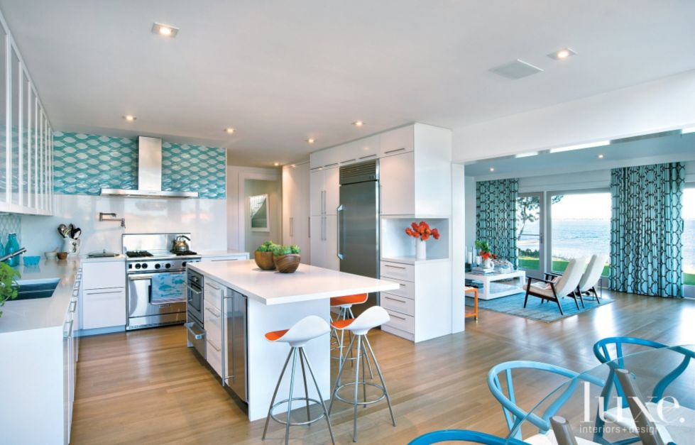 Modern white kitchen with blue accents luxe interiors design Modern kitchen design ideas 2015