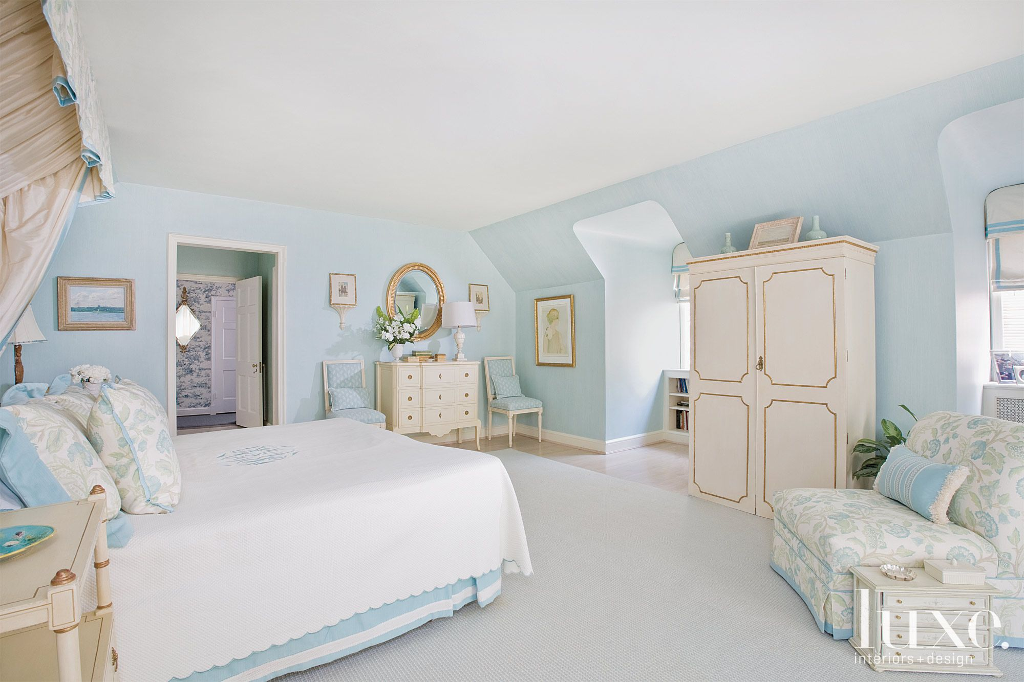 Blue Tradtional Master Bedroom