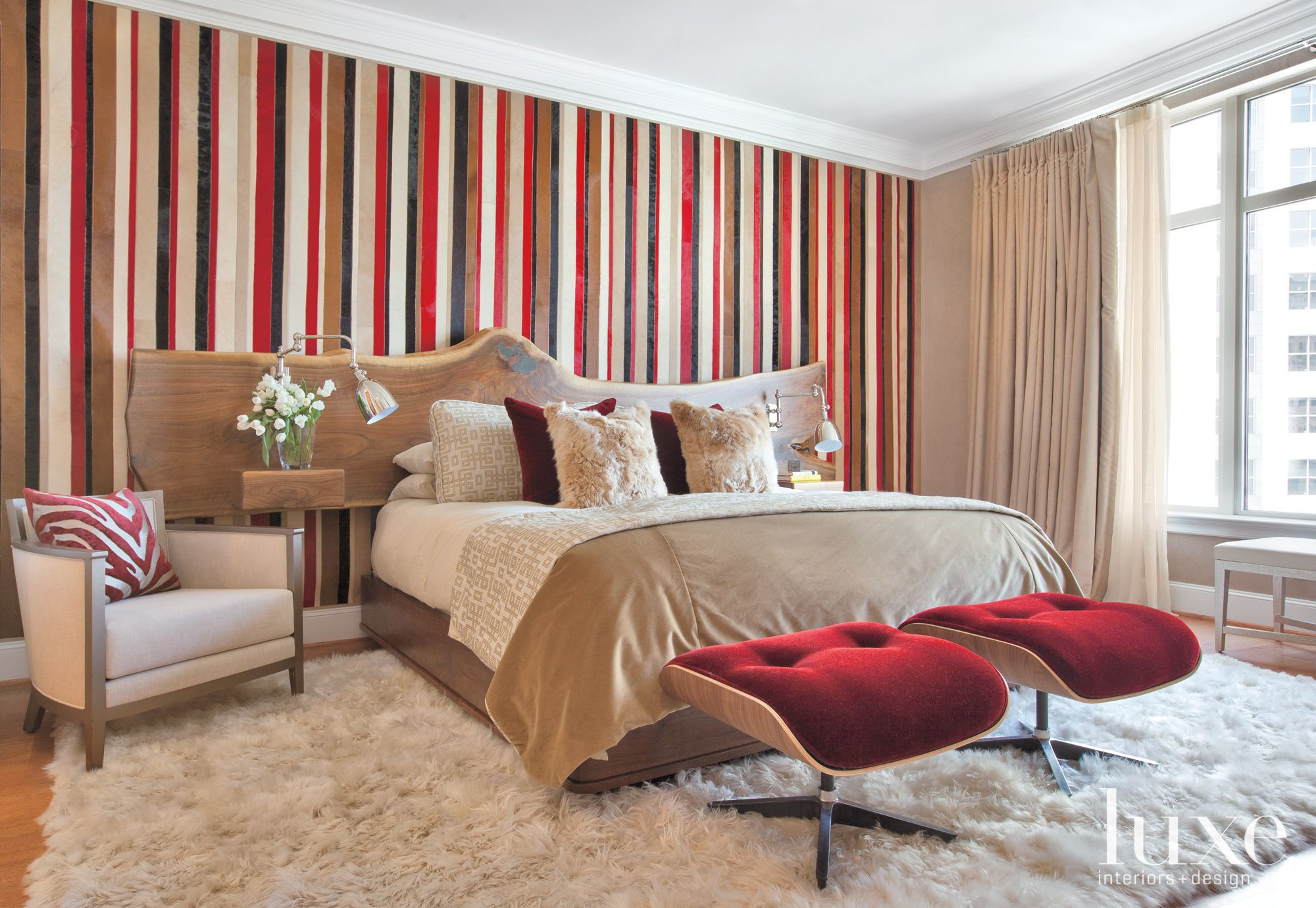 Modern Beige Bedroom with Striped Cowhide Wallcovering