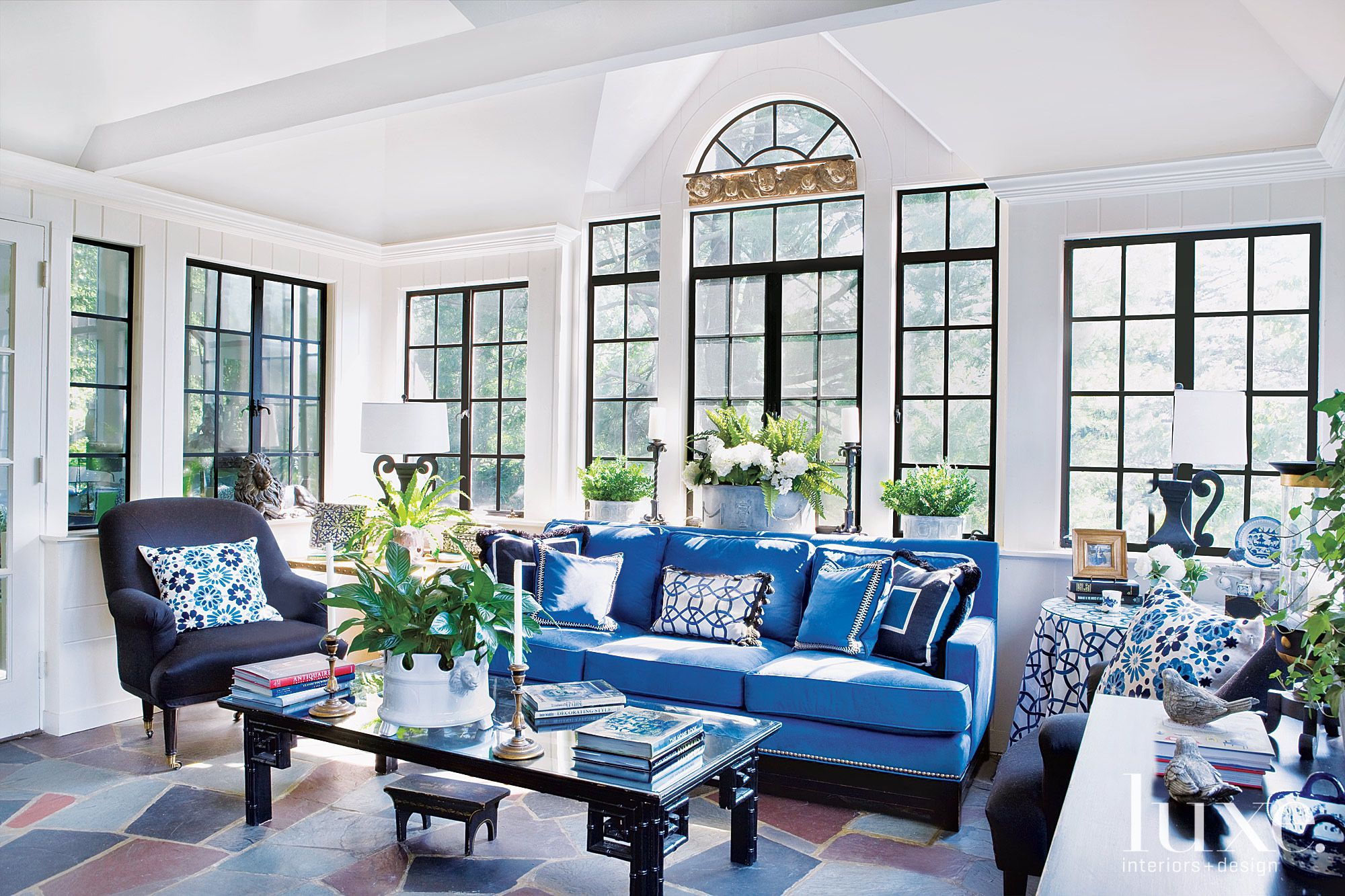 Traditional Blue Sun Room