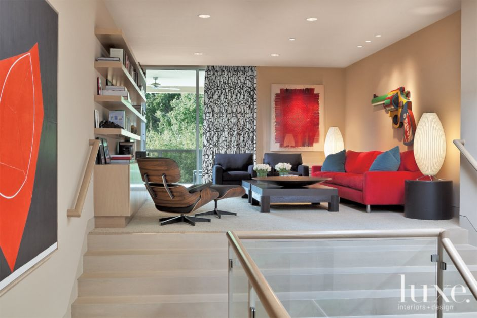 Red Accented Contemporary Sitting Room Luxe Interiors