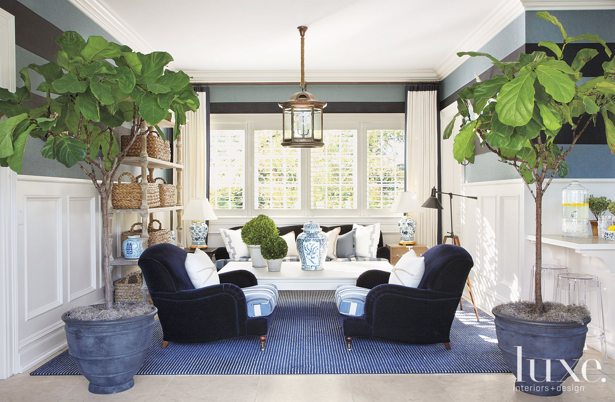 Traditional Blue Pool House with Nautical Vibe