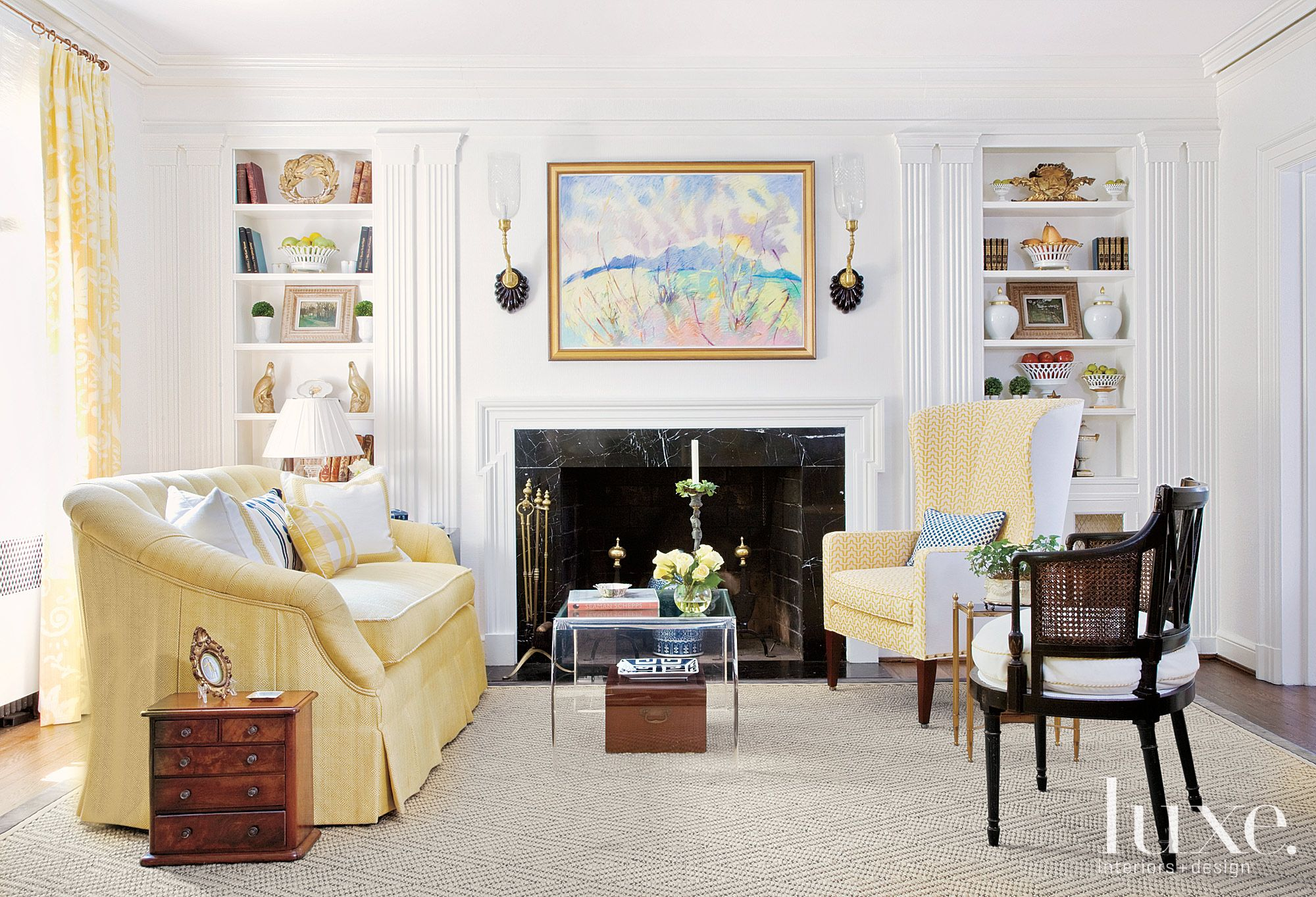 Eclectic Yellow Living Room