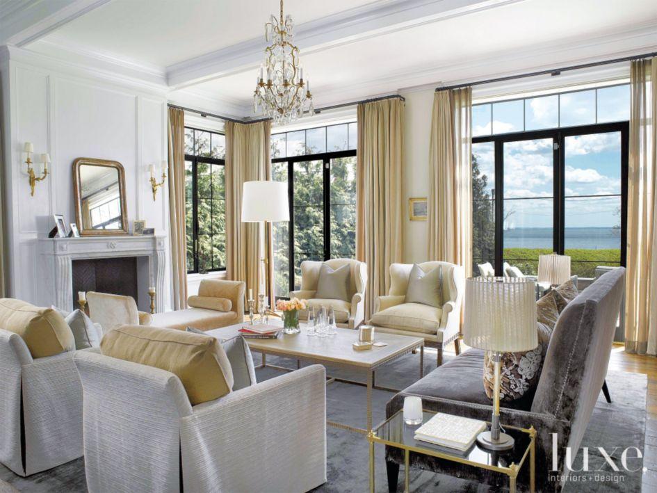 Cream Colored Living Room - Luxe Interiors + Design