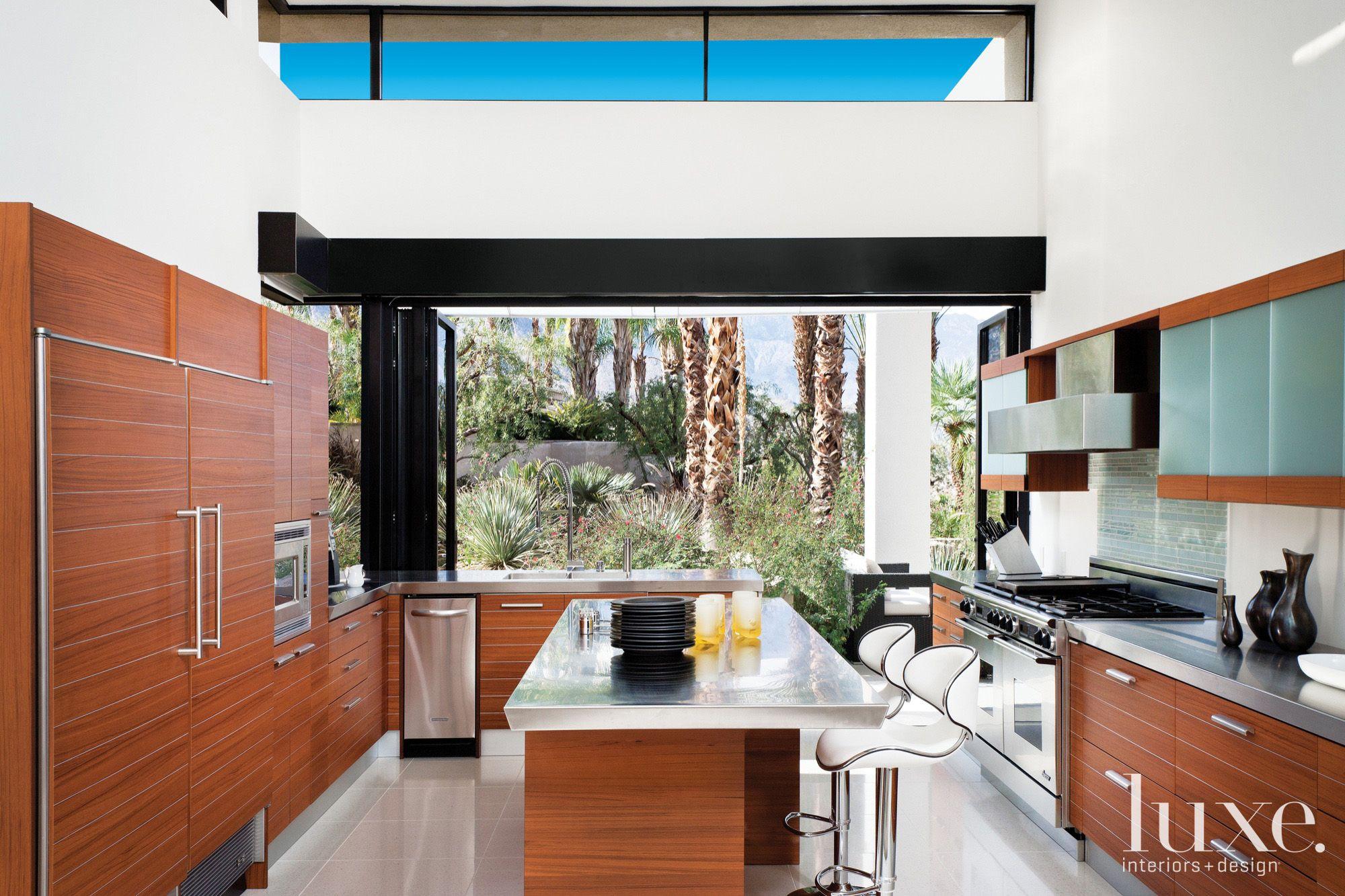 Contemporary White Indoor-Outdoor Kitchen
