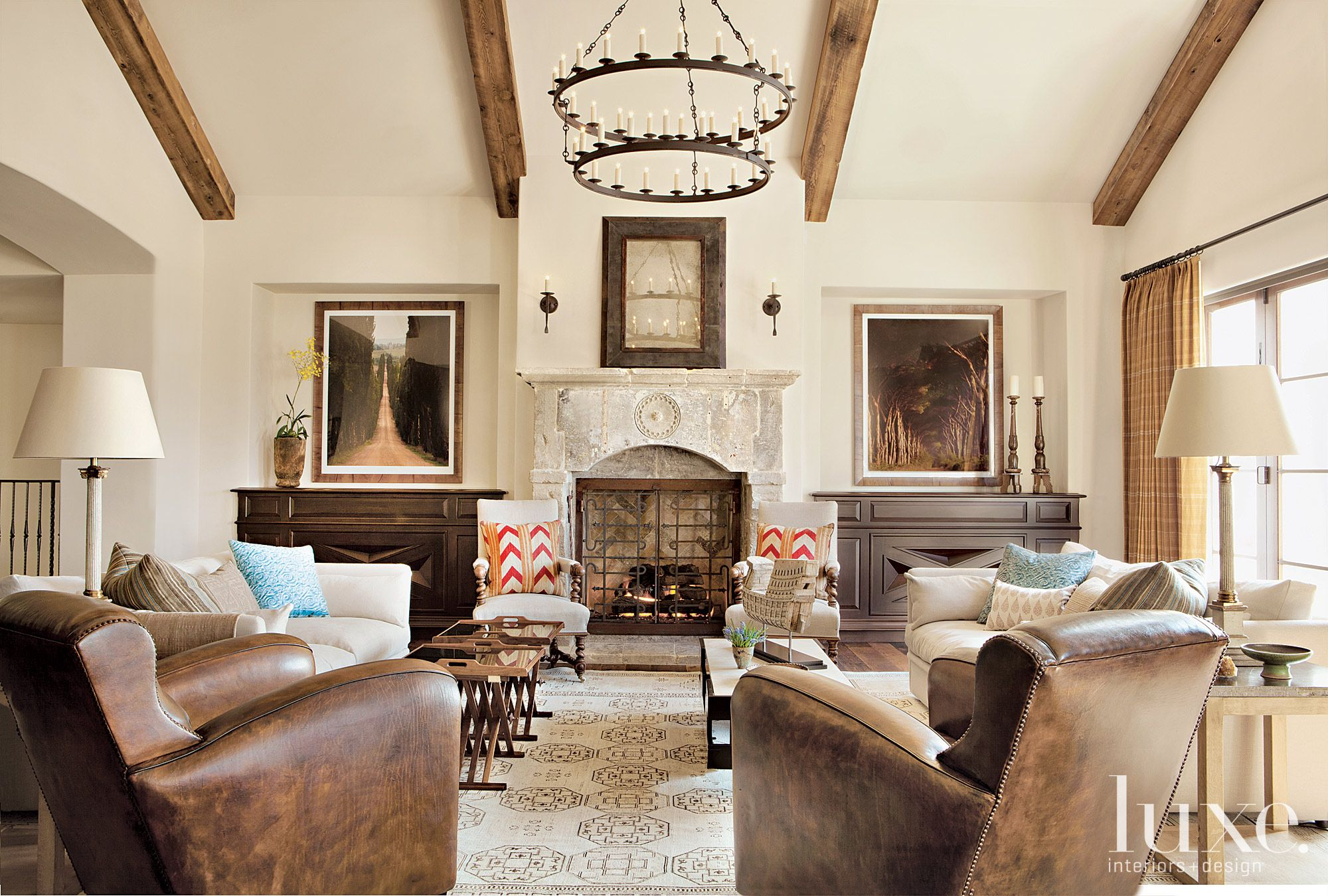 Mediterranean Cream Living Room with Antique Fireplace