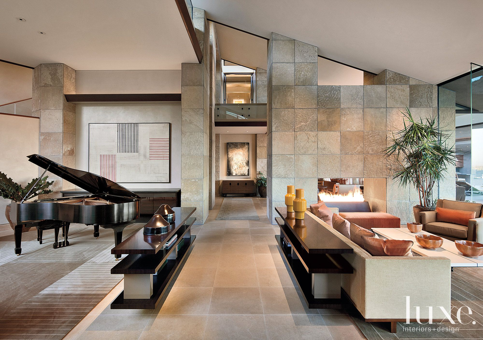 Modern Neutral Great Room with Flagstone Wall