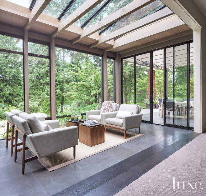 Contemporary neutral sunroom luxe interiors design for Sunroom interior designs