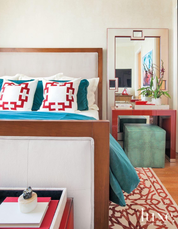 Modern Cream Guest Bedroom with Red Vanity