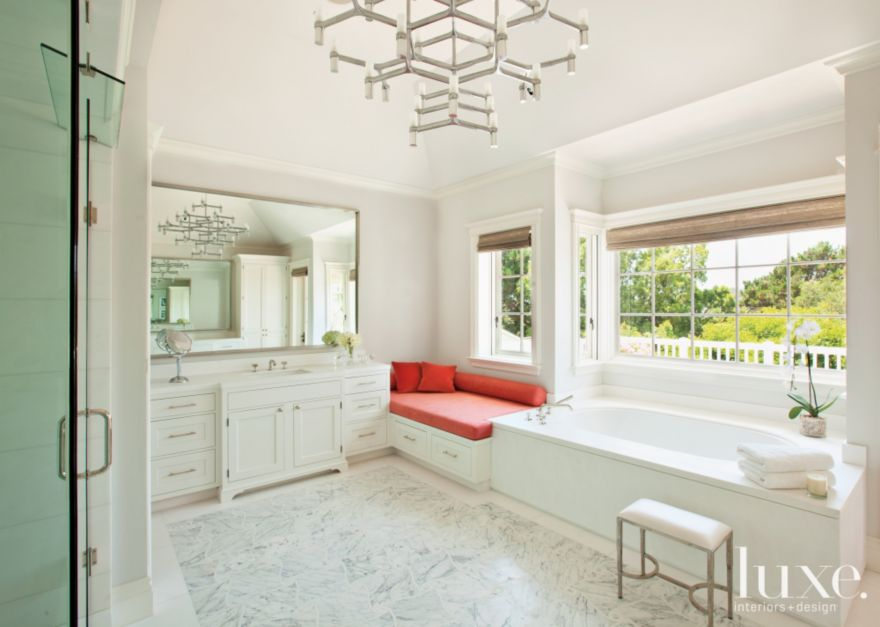 Transitional White Bathroom With Window Seat Luxe