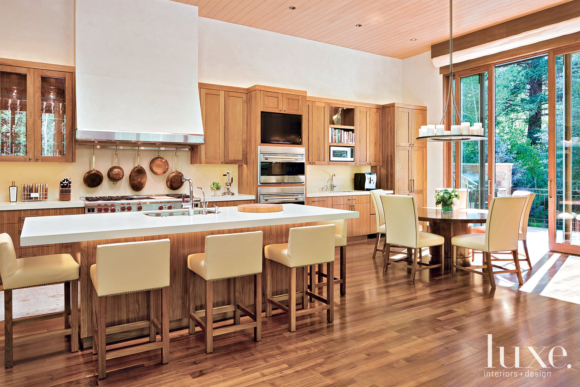 Contemporary Cream Kitchen with Cream Leather Accents