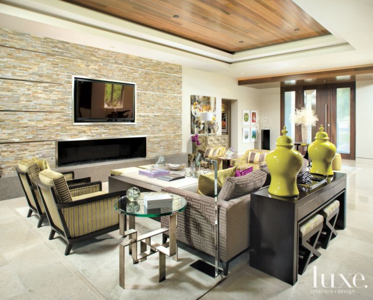 Modern Green And Gray Living Room