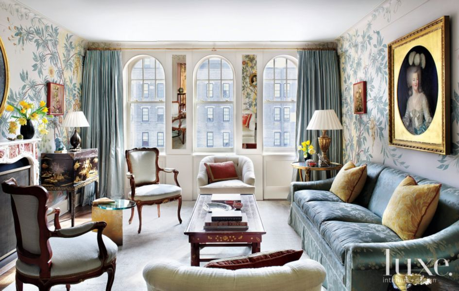 Blue 18th Century-Inspired Traditional Living Room - Luxe ...