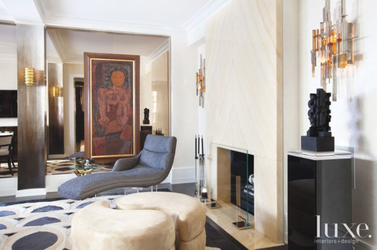 Modern Living Room with Fireplace - Luxe Interiors + Design