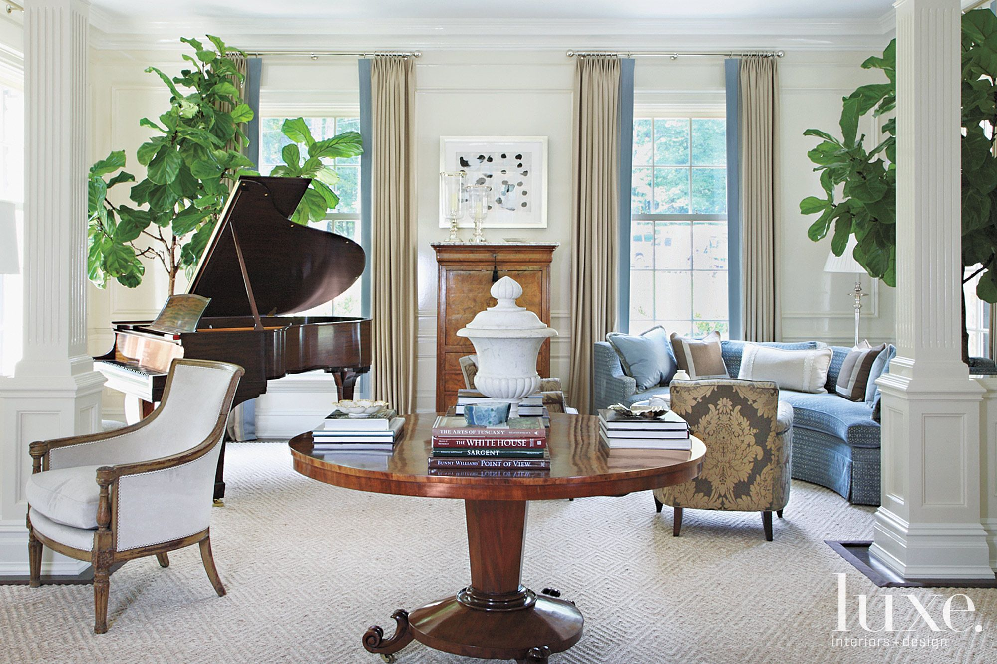 Traditional White Living Room with Mahogany Piano