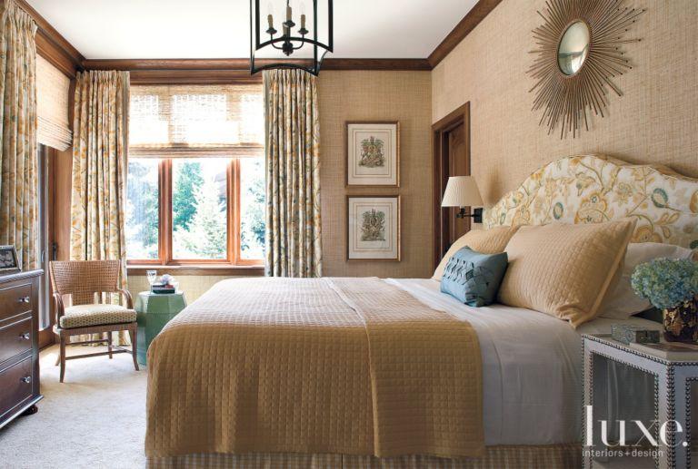 Master bedroom with custom headboard - Luxe Interiors + Design
