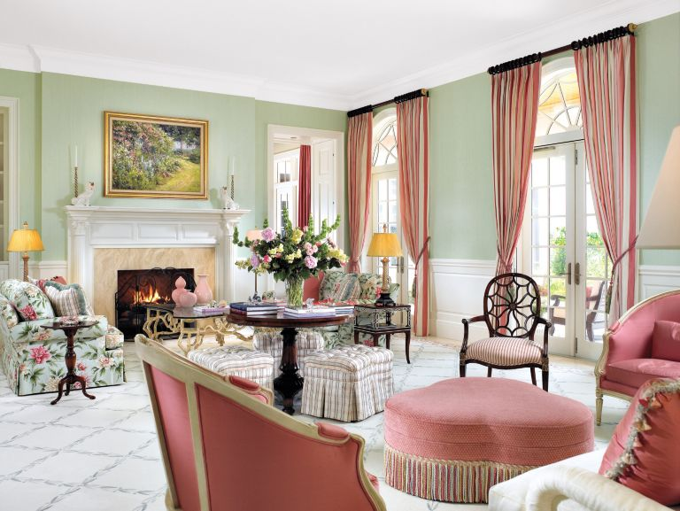 Traditional Pink and Green Living Room - Luxe Interiors + Design