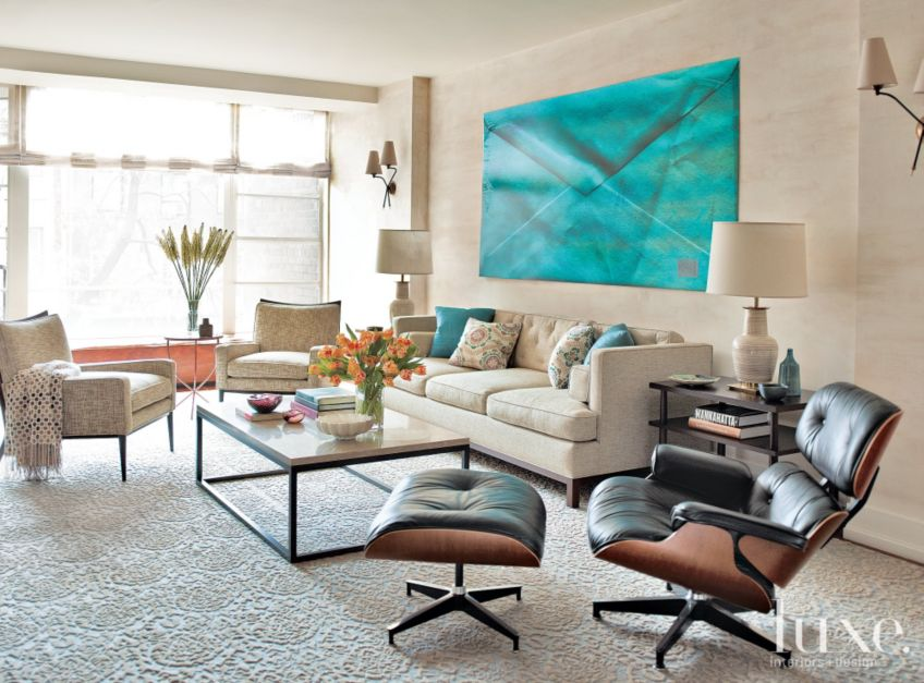 Modern Cream Living Room with Turquoise Accents - Luxe ...