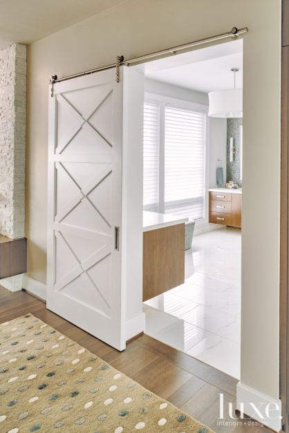 Modern White Master Bath Door Luxe Interiors Design