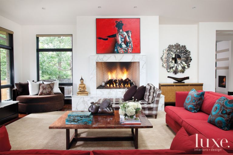 7ebb1cb664c24 Neutral Eclectic Living Room with Red Couch and Artwork - Luxe ...