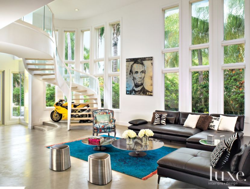Contemporary White Living Room With Vintage Ducati Luxe
