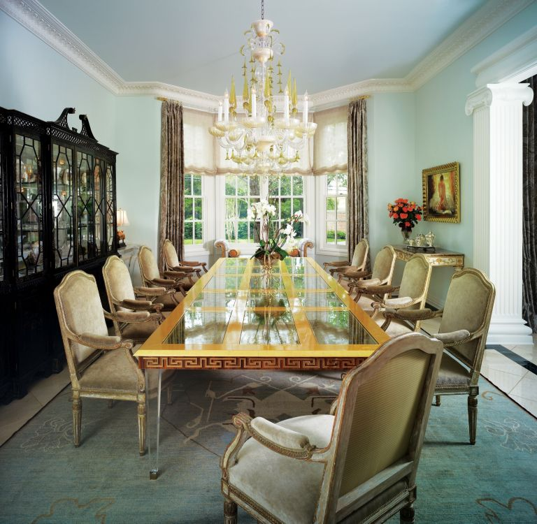 Light Blue Eclectic Dining Room
