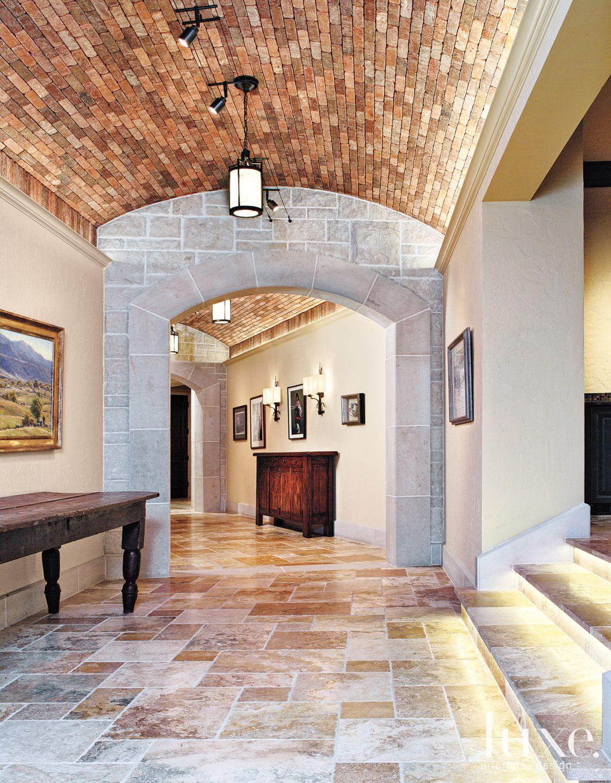 Mediterranean Cream Hallway with Curved Ceiling