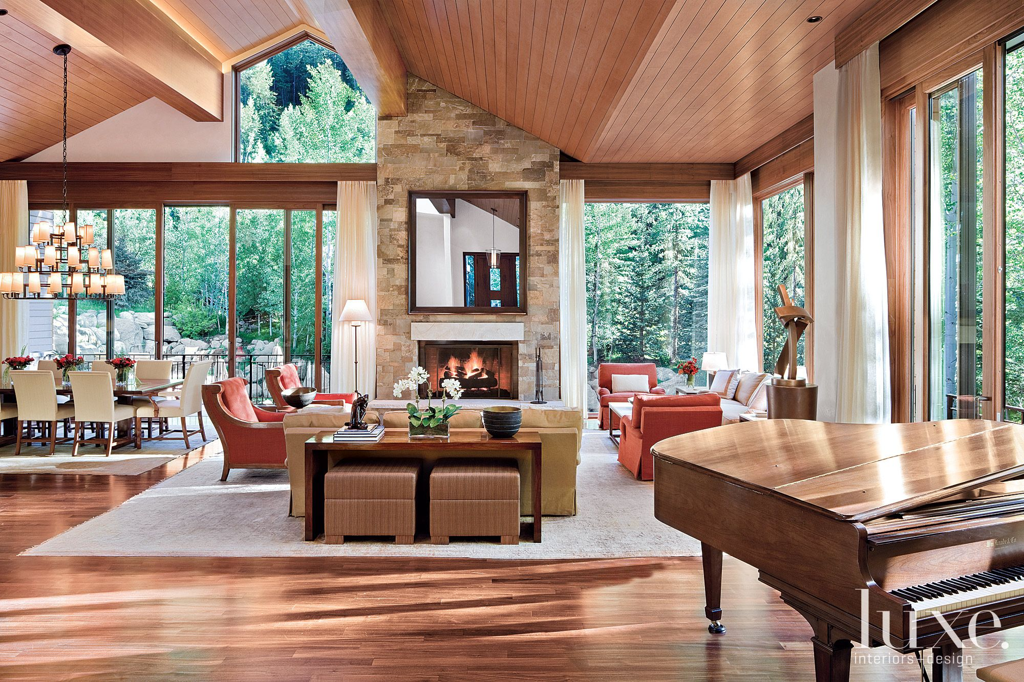 Contemporary Neutral Great Room with Wood Piano