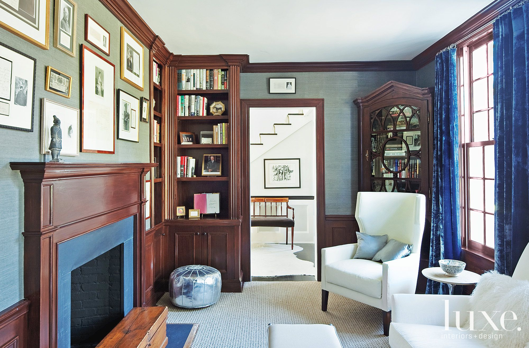 Transitional Blue Library with Velvet Draperies