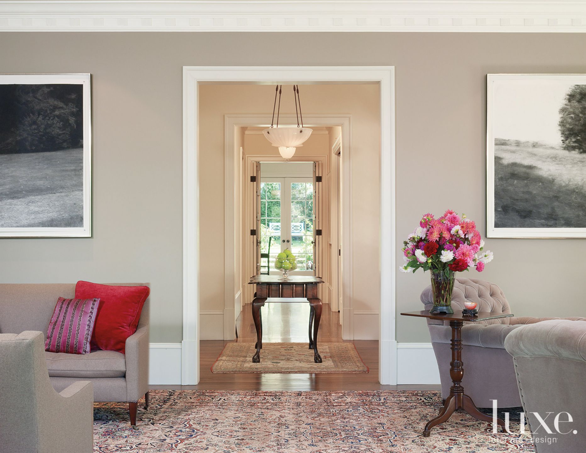 Transitional Neutral Center Hall with Case Openings