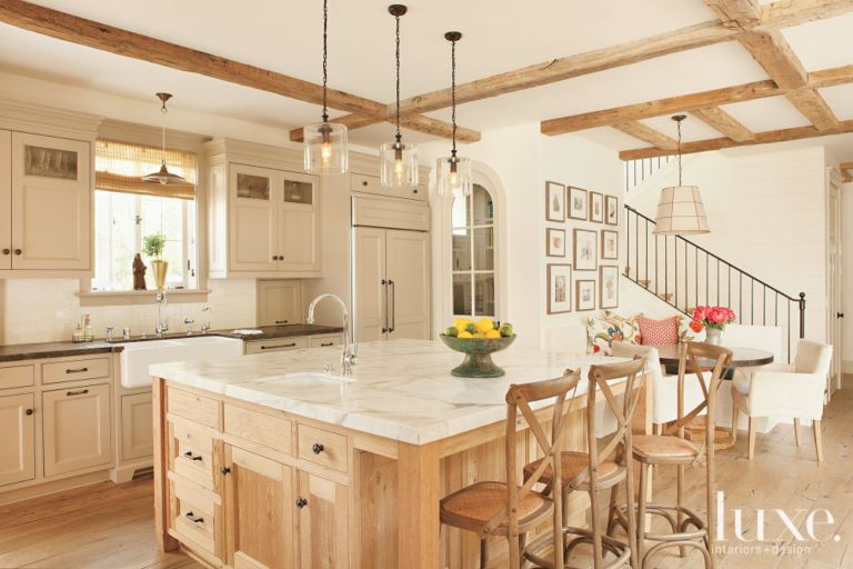 White And Cream Country Kitchen With Glass Pendants Luxesource